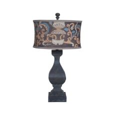 Carved Beacon Table Lamp In Ash Black Stain With Drum Shade, Ash Black Stain