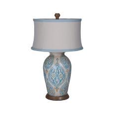 Terra Cotta Table Lamp Vii With European Tile Art, Handpainted Art