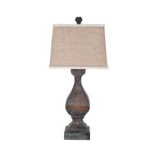 Carved Beacon Table Lamp In Heritage Grey Stain