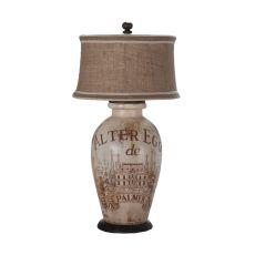 Terra Cotta Lamp I, Handpaintedalter Ego De Palmer Wine Label