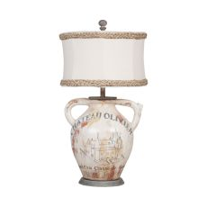 Terra Cotta Ii Table Lamp With Handpainted Wine Label Graphics
