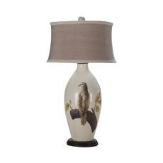 Terra Cotta Iii Table Lamp In Loft White With Original Artwork