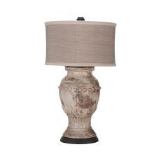 Terra Cotta Lamp Ix, Weathered Grey , Natural Wood