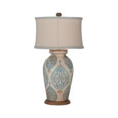 Terra Cotta Lamp Vii, Handpainted Antique White, Original Art