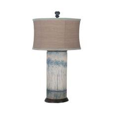 Terra Cotta Cylinder Lamp, Signature White, Original Art