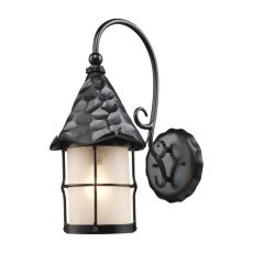 Rustica 1 Light Outdoor Wall Sconce In Matte Black And Scavo Glass