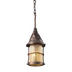 Rustica 1 Light Outdoor Pendant In Antique Copper And Amber Scavo Glass