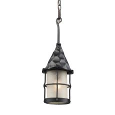 Rustica 1 Light Outdoor Pendant In Matte Black And Scavo Glass