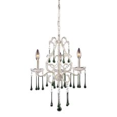 Opulence 3 Light Chandelier In Antique White And Lime Crystal