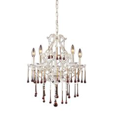 Opulence 5 Light Chandelier In Antique White And Amber Crystal