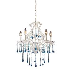 Opulence 5 Light Chandelier In Antique White And Aqua Crystal
