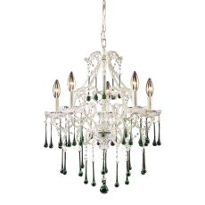 Opulence 5 Light Chandelier In Antique White And Lime Crystal