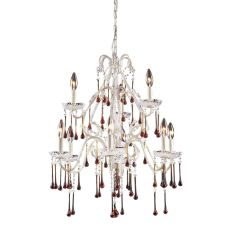 Opulence 9 Light Chandelier In Antique White And Amber Crystal