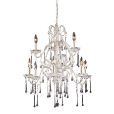 Opulence 9 Light Chandelier In Antique White And Clear Crystal