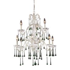 Opulence 9 Light Chandelier In Antique White And Lime Crystal