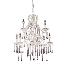 Opulence 9 Light Chandelier In Antique White And Rose Crystal