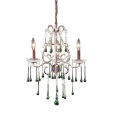 Opulence 3 Light Chandelier In Rust And Lime Crystal