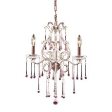 Opulence 3 Light Chandelier In Rust And Rose Crystal
