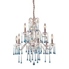 Opulence 9 Light Chandelier In Rust And Aqua Crystal