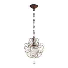 Elise 1 Light Pendant In Rust And Clear Crystal