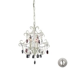 Elise 3 Light Chandelier In Antique White - Includes Recessed Lighting Kit