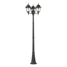 Central Square 3 Light Outdoor Post Lamp In Textured Matte Black