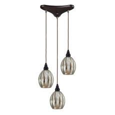 Danica 3 Light Pendant In Oiled Bronze And Mercury Glass