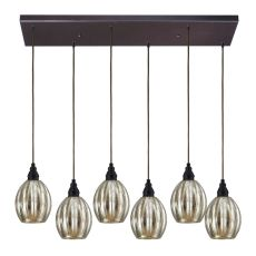 Danica 6 Light Pendant In Oiled Bronze And Mercury Glass