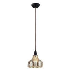 Danica 1 Light Pendant In Oiled Bronze And Mercury Glass