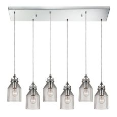 Danica 6 Light Pendant In Polished Chrome And Clear Glass