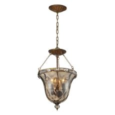 Cheltham 3 Light Pendant In Mocha And Champagne Plated Glass