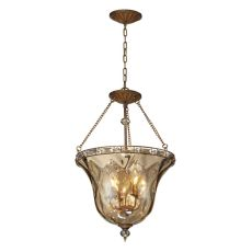 Cheltham 4 Light Pendant In Mocha And Champagne Plated Glass