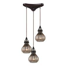Danica 3 Light Pendant In Oil Rubbed Bronze And Mercury Glass
