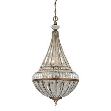 Empire 6 Light Pendant In Mocha And Clear Crystal