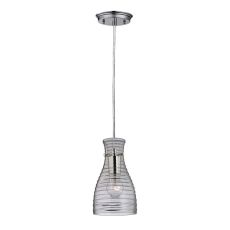 Strata 1 Light Mini Pendant In Polished Chrome And Clear Glass