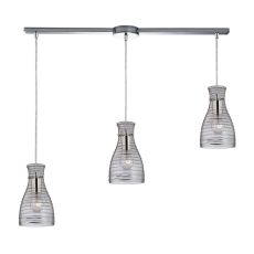 Strata 3 Light Pendant In Polished Chrome And Clear Glass