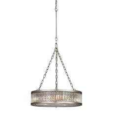 Linden Manor 3 Light Pendant In Crystal And Brushed Nickel