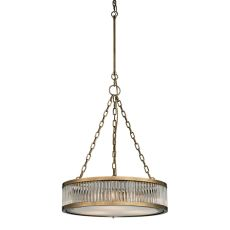 Linden Manor 3 Light Pendant In Crystal And Aged Brass