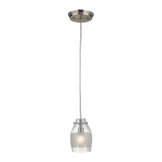 Carved Glass 1 Light Pendant In Brushed Nickel