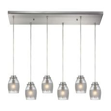 Carved Glass 6 Light Pendant In Brushed Nickel