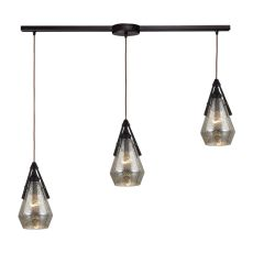 Duncan 3 Light Pendant In Oil Rubbed Bronze And Antique Mercury Glass