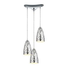 Hammersmith 3 Light Pendant In Hammered Polished Chrome
