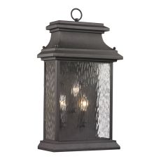 Forged Provincial 3 Light Outdoor Sconce In Charcoal