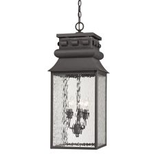 Forged Lancaster 3 Light Outdoor Pendant In Charcoal