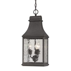 Forged Jefferson 3 Light Outdoor Pendant In Charcoal