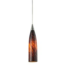 Lungo 1 Light Led Pendant In Satin Nickel And Espresso Glass