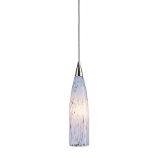 Lungo 1 Light Pendant In Satin Nickel And Snow White Glass