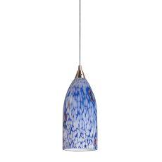 Verona 1 Light Pendant In Satin Nickel And Starburst Blue Glass