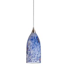 Verona 1 Light Led Pendant In Satin Nickel And Starlight Blue Glass