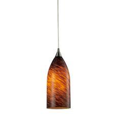 Verona 1 Light Pendant In Satin Nickel And Espresso Glass